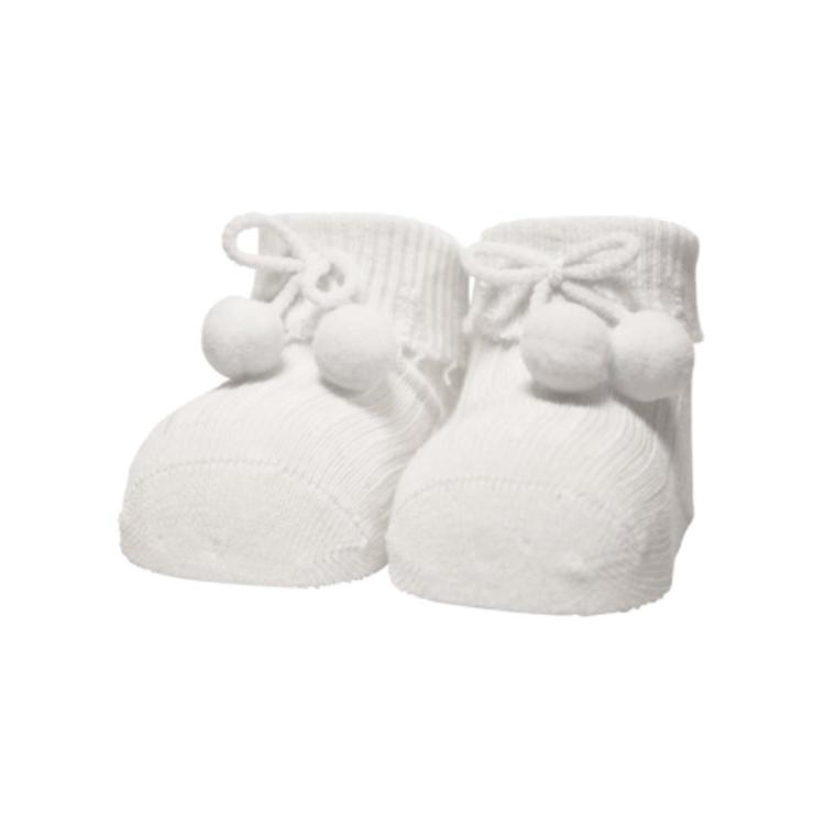 Afbeeldingen van In Control Newborn sokjes wit met pompom