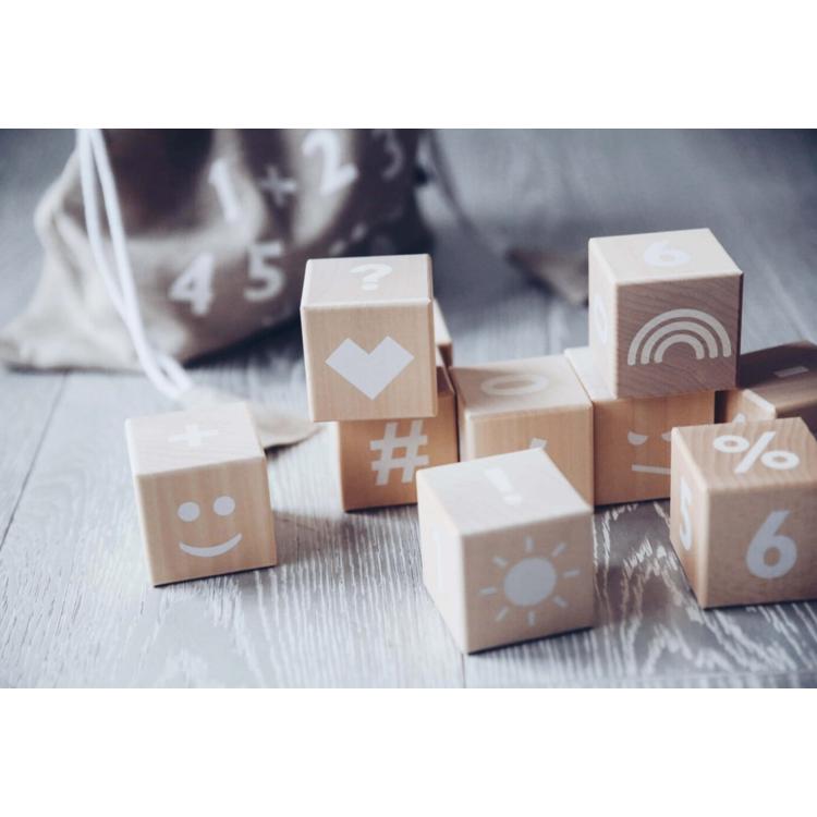 Afbeeldingen van Ooh Noo Houten blokken cijfers wit