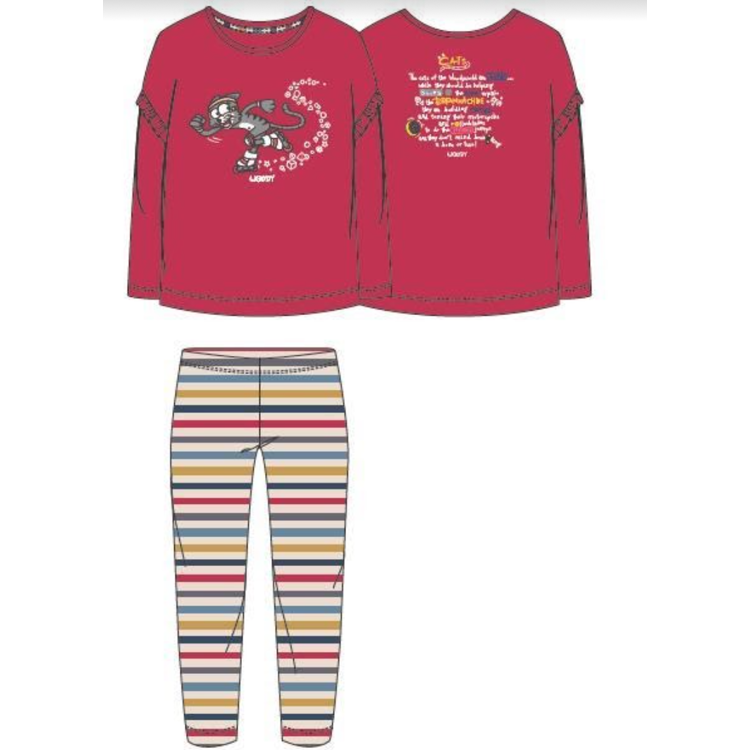 Afbeeldingen van Woody Pyjama LM Kat Chinese Red
