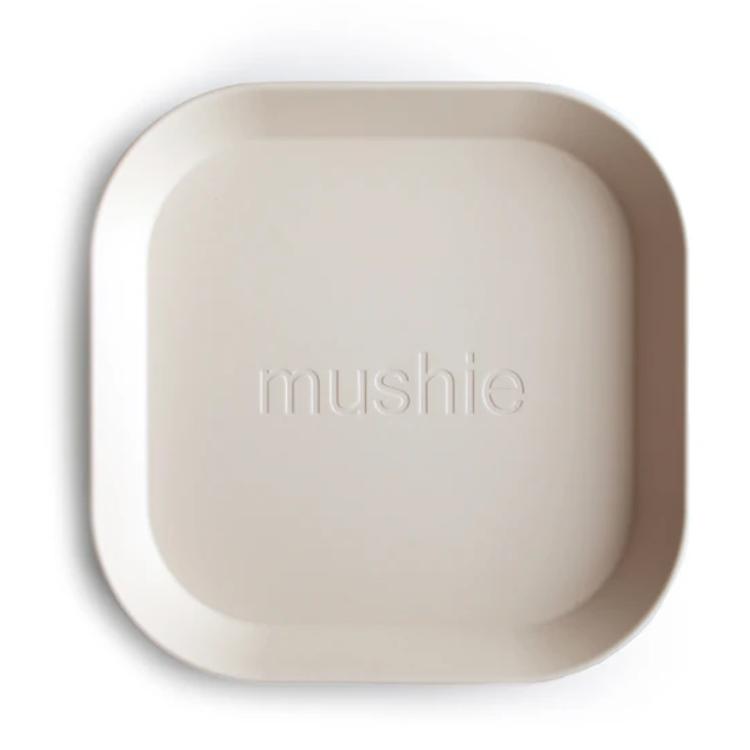 Afbeeldingen van Mushie Set van 2 bordjes ivory