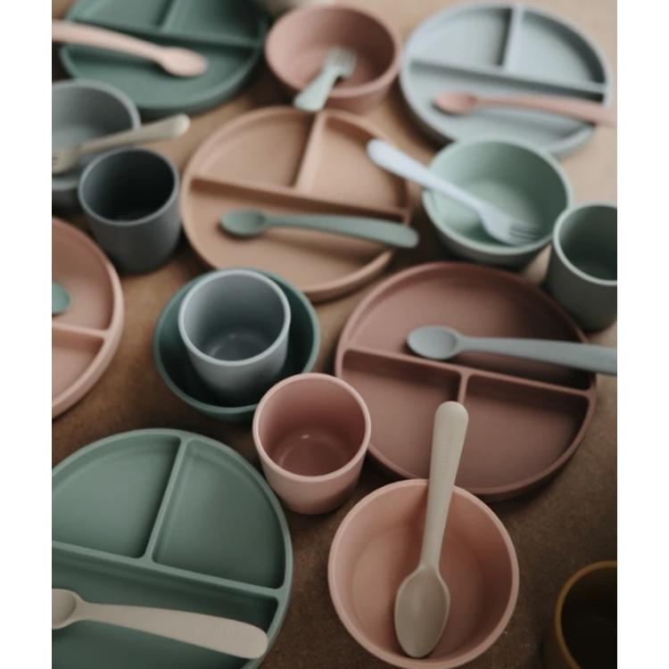Afbeeldingen van Mushie Set siliconen Lepels Sage