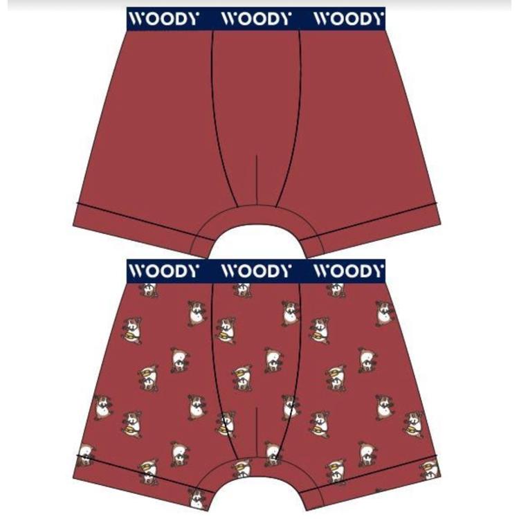 Afbeeldingen van Woody Set boxershort donkerrood cavia