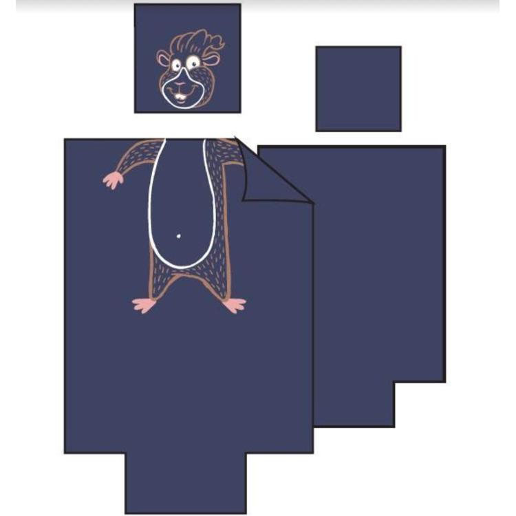 Afbeeldingen van Woody Donsovertrek eenpersoonsbed 90x 200 cm cavia blauw