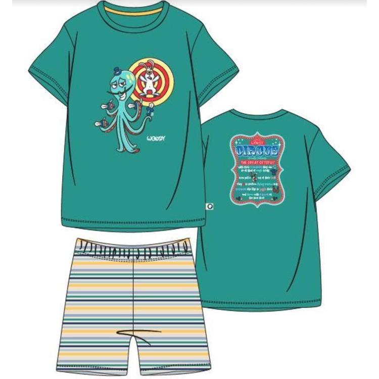 Afbeeldingen van Woody Pyjama Octopus groen