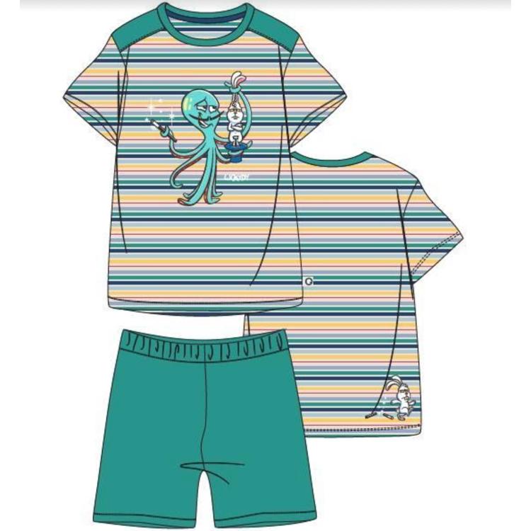 Afbeeldingen van Woody Pyjama Octopus gestreept