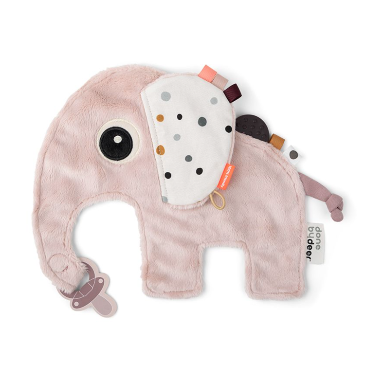 Afbeeldingen van Done by Deer Knuffeldoekje roze olifant