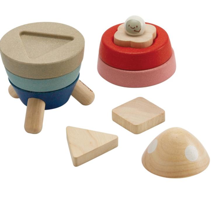 Afbeeldingen van Plan Toys Stapelraket pastel