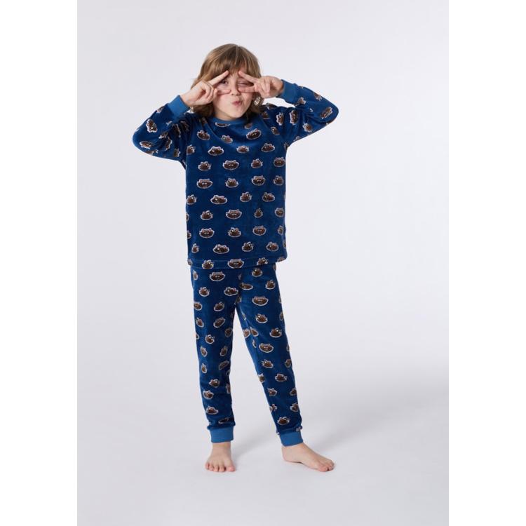 Afbeeldingen van Woody Pyjama Velours Raccoon blauw