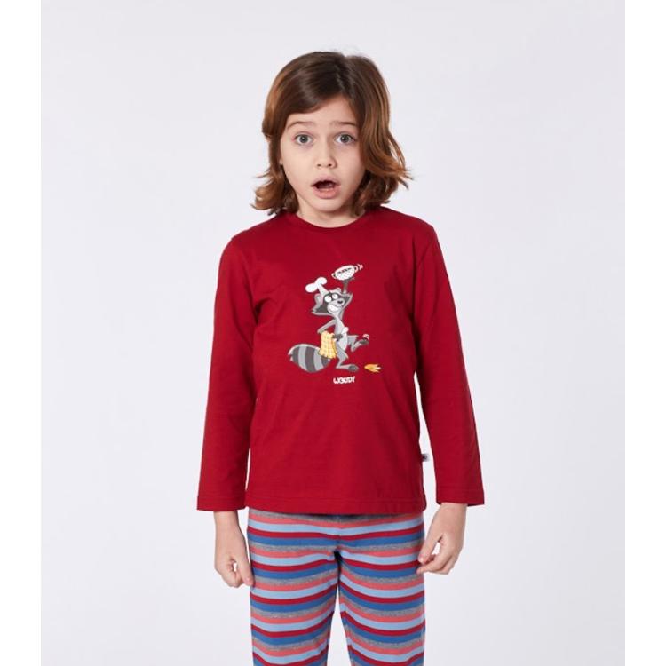 Afbeeldingen van Woody Pyjama Raccoon effen rood