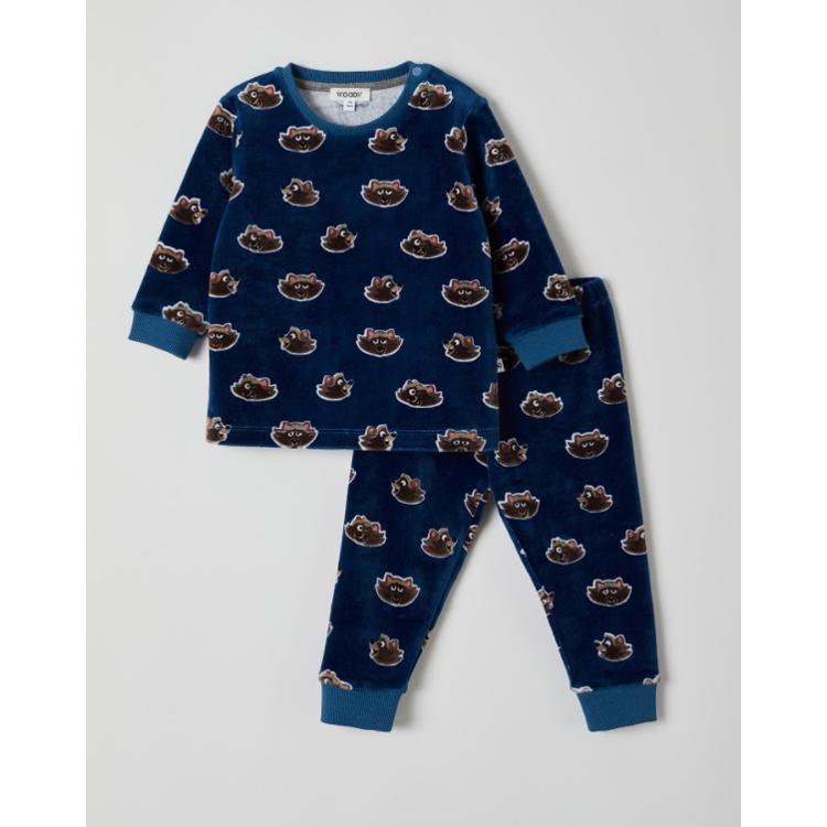 Afbeeldingen van Woody Pyjama Velours Raccoon blauw (0-18 maand)