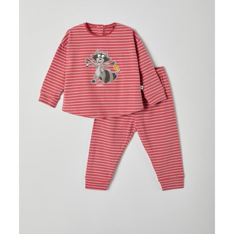 Afbeeldingen van Woody Pyjama Raccoon fijn gestreept roze (0-18 maand)