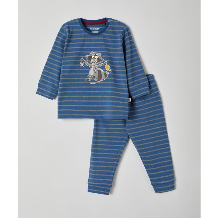 Afbeeldingen van Woody Pyjama Raccoon gestreept grijs (0-18 maand)