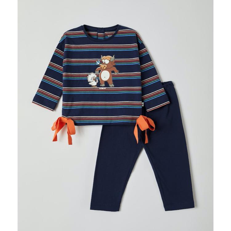 Afbeeldingen van Woody Pyjama meisje Hooglander gestreept (0-18 maand)