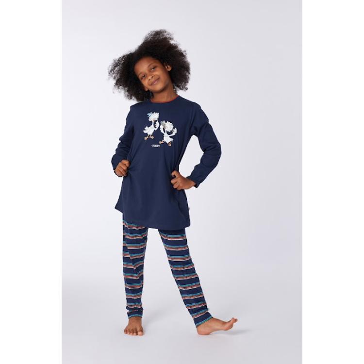 Afbeeldingen van Woody Pyjama meisje hooglander navy